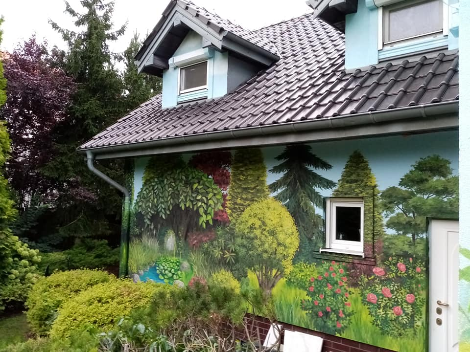 ogród na ścianie, mural z ogrodem, pejzaż