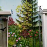 ogród na ścianie, mural z ogrodem